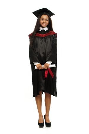 Happy graduated african-american student girl isolated on white photo