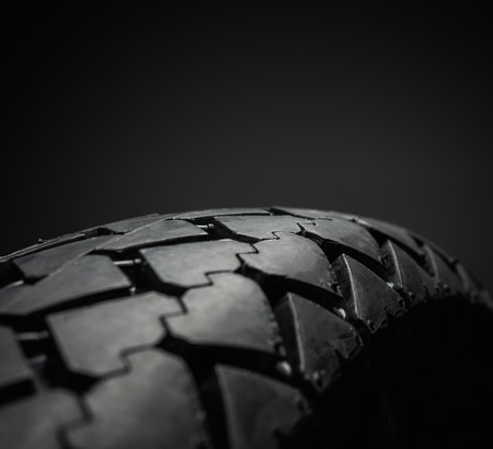 tire tread: Close-up shot of classical motorcycle tire tread