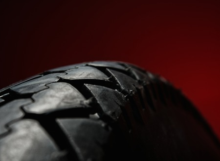 Close-up shot of classical motorcycle tire tread  photo