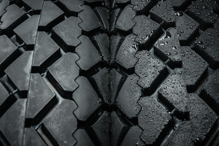Comparing of classical motorcycle tires treads in different weather condition  photo