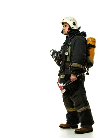 fireproof: Firefighter with axe and oxygen balloon isolated on white