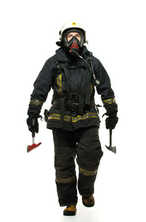 Firefighter with axes and wearing oxygen mask isolated on white  Stock Photo