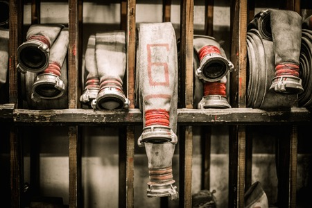firefighting: Storage room in firefighting depot with water hoses