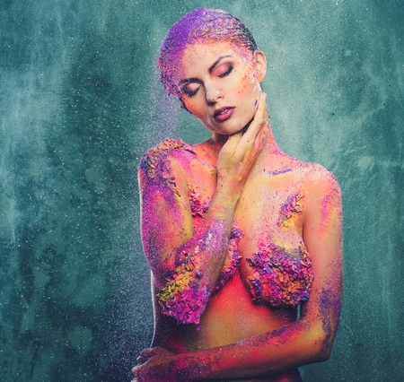 fragility: Fragility of a human creature conceptual body art on a woman