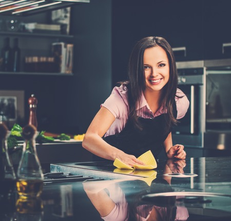 maid cleaning: Young cheerful woman cleaning modern kitchen Stock Photo