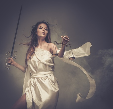 judicature: Femida, Goddess of Justice, with scales and sword