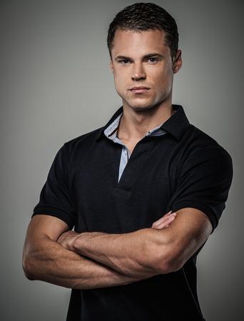 men shirt: Handsome man wearing polo shirt  Stock Photo