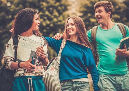 estudiantes universitarios: Grupo de estudiantes �tnicos multi caminando en una ciudad