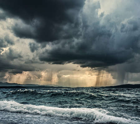 storm sea: Heavy rain over stormy ocean