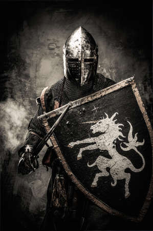 armour: Medieval knight against stone wall