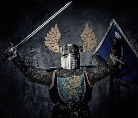 hauberk: Medieval knight with sword and shield against stone wall Stock Photo