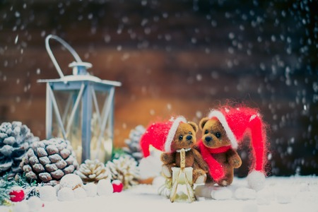 Small toy bears in christmas still life  photo