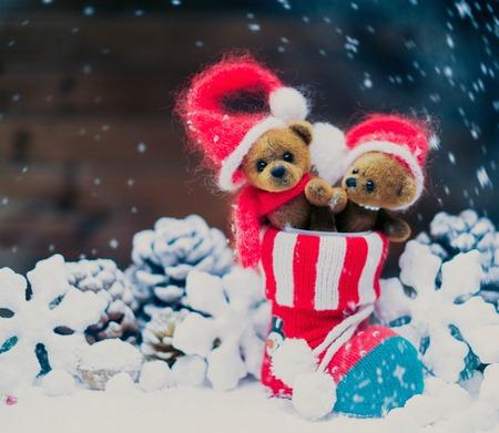 stoking: Small toy bears in christmas stoking  Stock Photo
