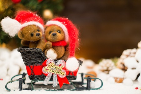 Small toy bears on a sleigh in christmas still life  photo