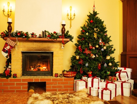 Christmas decorated house interior with fireplace  photo