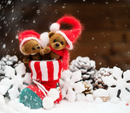 Small toy bears in christmas stoking  Stock Photo