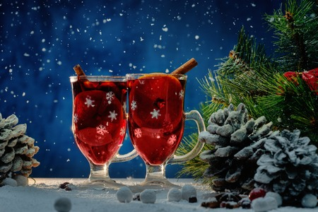 christmas tea: Cups with hot mulled wine in Christmas still life  Stock Photo