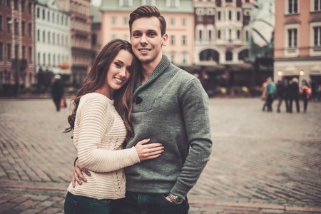 Young couple in old european town photo