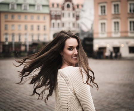 latvia girls: Beautiful girl in old european town
