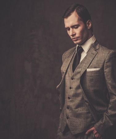 welldressed: Well-dressed man in grey suit Stock Photo