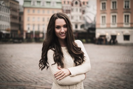latvia girls: Beautiful girl in old european town