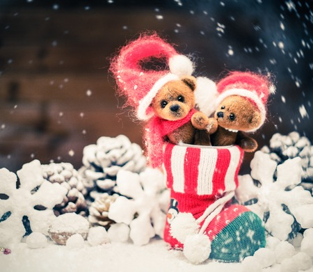 stoking: Small toy bears in christmas stoking
