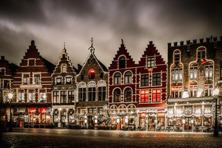 the flanders: Decorated and illuminated Market square in Bruges, Belgium