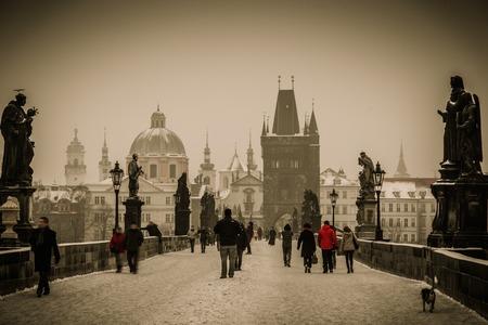 cygnet: People walking on a Charles bridge in Prague