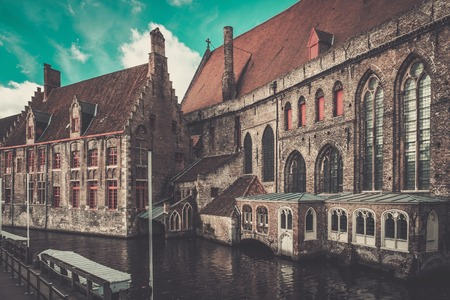 bruges: Houses along canal in Bruges, Belgium Stock Photo