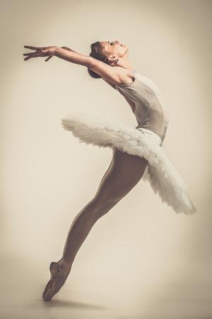 zapatillas ballet: Bailarín de la bailarina joven en tutú mostrando sus técnicas