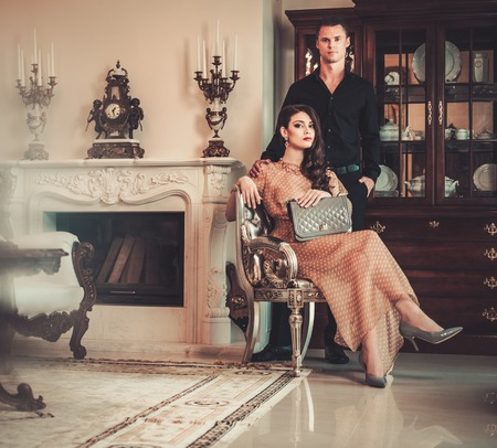 seductive couple: Young couple in luxury home interior
