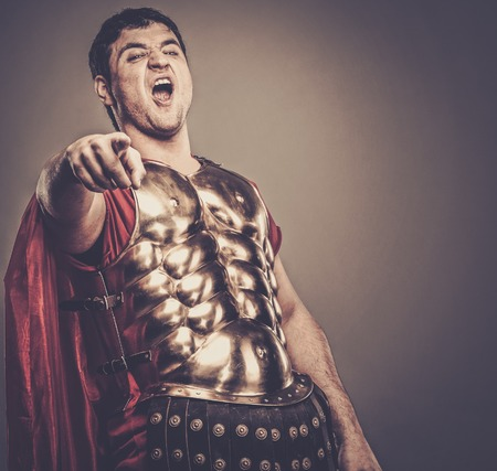 legionary: Laughing legionary soldier Stock Photo