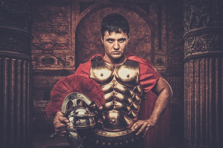 praetorian: Roman legionary soldier in front of ancient building Stock Photo