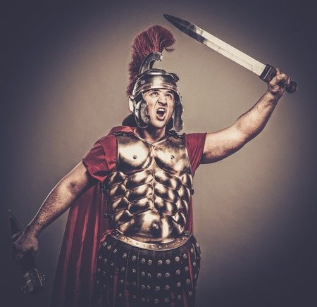 roman empire: Legionary soldier ready for a war