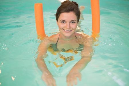 aerobic treatment: Woman on water aerobics workout Stock Photo