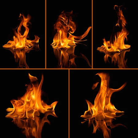 gas fireplace: Set of fire flames on black Stock Photo
