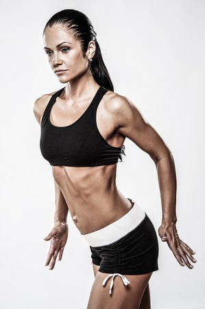 exertion: Woman with beautiful athletic body Stock Photo
