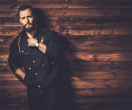 waxed: Handsome man with beard  wearing waxed canvas jacket Stock Photo