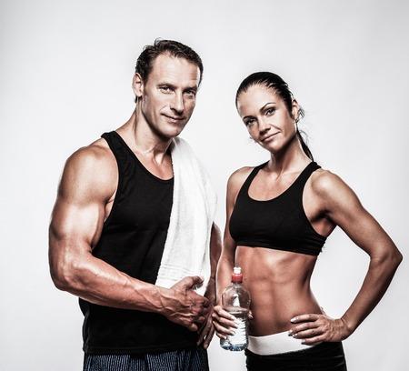 Atlético pareja después del ejercicio físico Foto de archivo