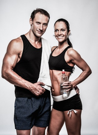 fitness couple: Athletic couple after fitness exercise