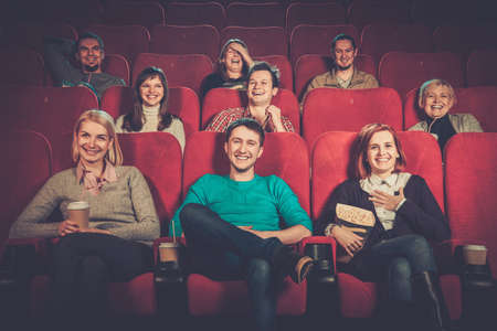 Group of smiling people watching movie in cinema
