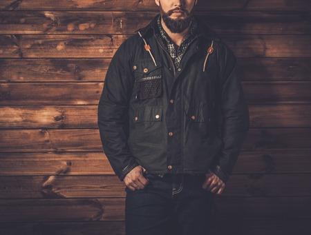waxed: Man with beard  wearing waxed canvas jacket Stock Photo