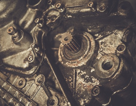 vintage power: Close-up of an old motorcycle  engine Stock Photo