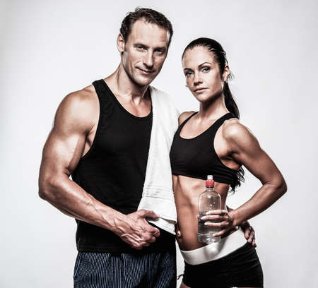 fit couple: Athletic couple after fitness exercise