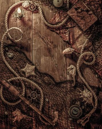 barco pirata: Concepto del mar en un fondo de la tabla de madera Foto de archivo
