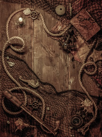 old ship: Sea concept on a wooden table background Stock Photo