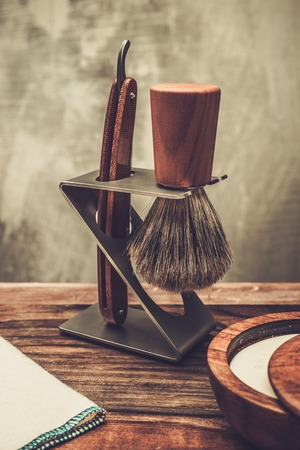 barber: Safety razor and shaving brush on a stand Stock Photo