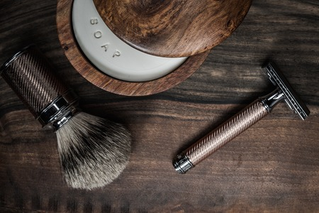 shaver: Shaving accessories on a luxury wooden background