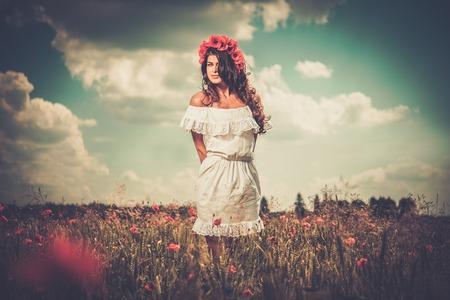 chaplet: Beautiful girl wearing white summer dress and flower chaplet in poppy filed Stock Photo