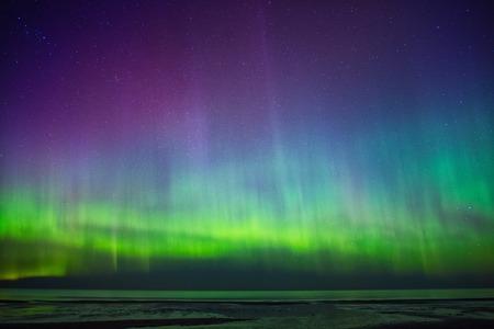 aurora: Beautiful Aurora Borealis over sea
